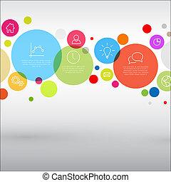 cercles, vecteur, descriptif, diagramme, infographic, divers, gabarit