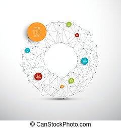 cercles, vecteur, réseau, résumé, /, infographic, illustration, gabarit