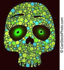 cercles, vert, crâne