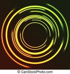 cercles, vibrant, résumé, néon, incandescent, fond