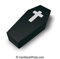 cercueil, chrétien, -, croix, illustration, noir, brin, 3d
