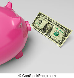 cerdito, dólares, exposiciones, dinero, ahorros, y, riqueza