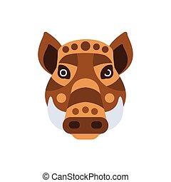 cerdo, cabeza, animales, verruga, estilizado, africano, geométrico