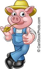 cerdo, caricatura, granjero, carácter
