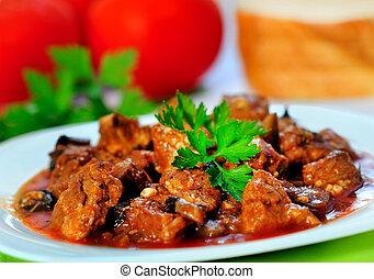 cerdo, carne, guisado