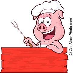 cerdo, chef, barbacoa