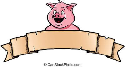 cerdo, con, bandera de la cinta