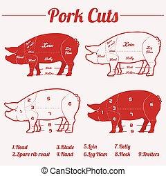 cerdo, -, cortes, rojo blanco, carne