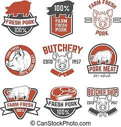 cerdo, elementos, carne, fresco, granja, signo., vector,...