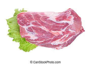 cerdo, ensalada de carne, aislado, crudo, plano de fondo, blanco