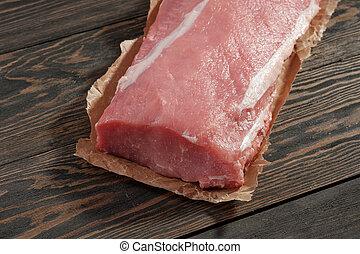 cerdo, fat., lomo, sin, oscuridad, lomo, papel, boneless, plano de fondo, entero