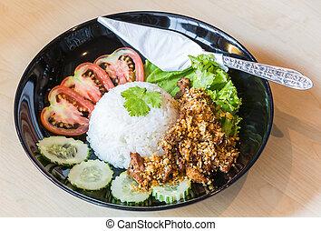cerdo, frito, con, arroz