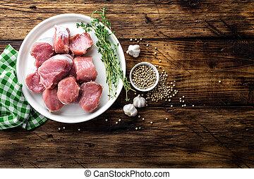 cerdo, lomo, de madera, vista, fresco, plano de fondo, cima, rústico, cortado, oscuridad, carne, crudo