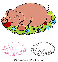cerdo, luau, asado
