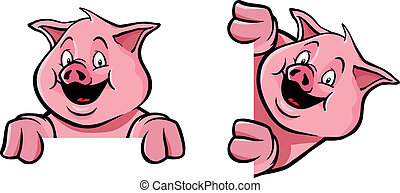 cerdo, marco, decoración