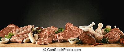 cerdo, pollo, carne de vaca, salchichas, barbacoa, crudo