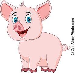 cerdo, posar, lindo, aislado