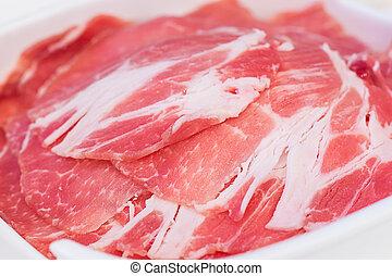 cerdo, slided, alimento, frescura, imagen, shabu, japonés