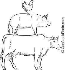cerdo, vector, vaca, pollo, animales, granja