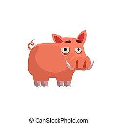 cerdo, verruga, ilustración, divertido
