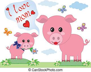 cerdos, día madres