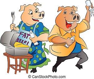 cerdos, dos, ilustración