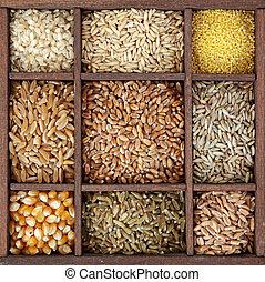 cereais, em, caixa madeira