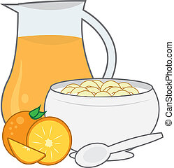 Cereal and Juice - Bowl of cereal with pitcher of orange...