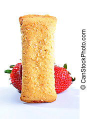 Cereal Bar - Light meal with fruit - Cereal Bar on a white...