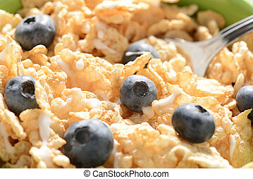 Cereal Close Up with Blueberries and a Spoon