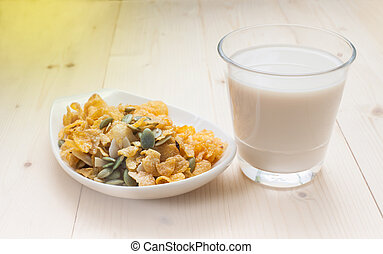 Cereal Corn Flake Caramel with milk