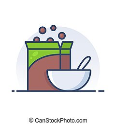 Cereal. Detailed filled outline icon.