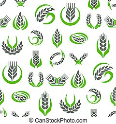 Cereal ears and grains agriculture industry seamless pattern background design vector food illustration organic natural symbol