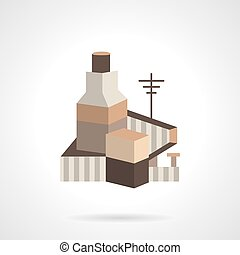 Cereal factory flat vector icon - Cereal or grain factory....