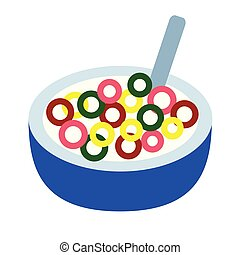 cereal flat illustration on white