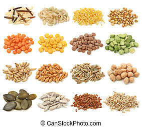 Cereal, grain and seeds collection isolated on white ...