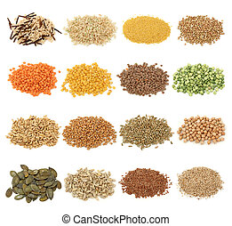 Cereal, grain and seeds collection isolated on white background