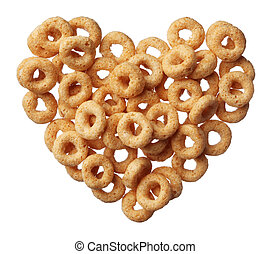 cereal in a heart shape isolated on white background