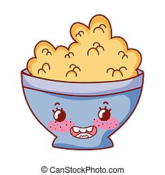 cereal in bowl breakfast food cute kawaii isolated icon