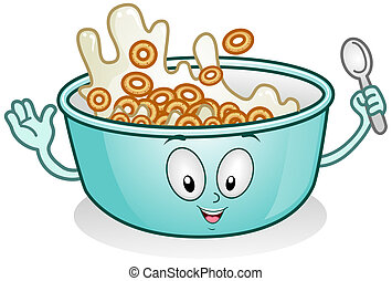 Illustration of a Breakfast Character with Milk and Cereal