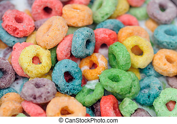 Cereal - orange, blue, green and purple cereal fruits