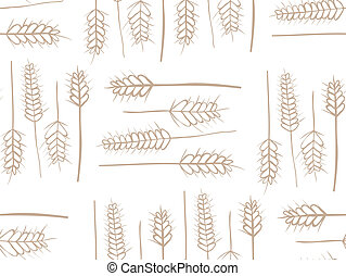 Cereal Plant Seamless Pattern - Organic wheat stems...