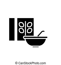 cereal - porridge bowl and box icon, vector illustration, black sign on isolated background