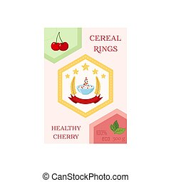 Cereal rings box, cherry with bowl. Oatmeal breakfast with milk