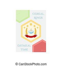 Cereal rings in box. Oatmeal breakfast with milk, organic muesli.