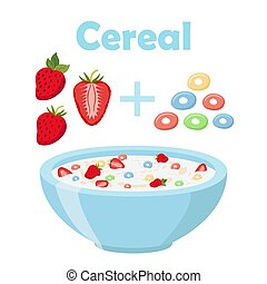 Cereal rings, strawberry with bowl. Organic oatmeal breakfast with milk