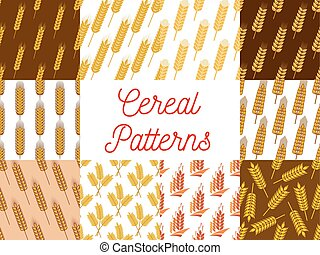 Cereal wheat and rye ears patterns