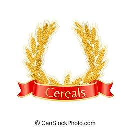 Cereal Wheat Wreath Poster Vector Illustration