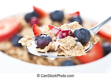 cereales, tazón, con, frutas rojas, aislado, blanco