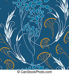 cereals and grass. Seamless pattern. Vector.